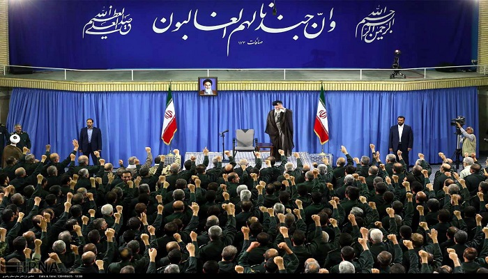 Khamenei-with-IRGC-The main force behind Terror in Iran, Iraq, Syria, Yemen, Lebanon, etc.