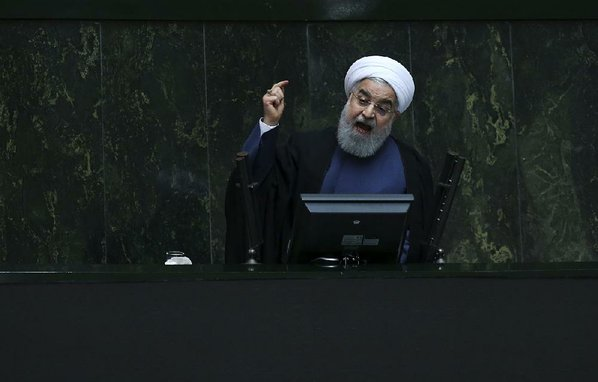 Rouhani answering questions at regime's parliament